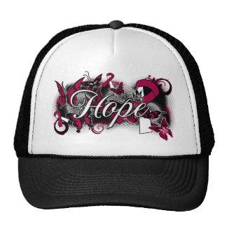 Throat Cancer Hope Garden Ribbon Hats