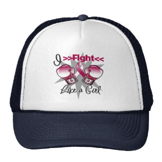 Throat Cancer I Fight Like a Girl With Gloves Trucker Hat