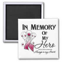 Throat Cancer In Memory of My Hero 2 Inch Square Magnet
