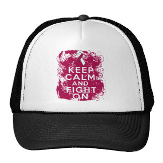 Throat Cancer Keep Calm and Fight On Mesh Hat