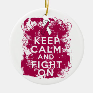 Throat Cancer Keep Calm and Fight On Christmas Ornament