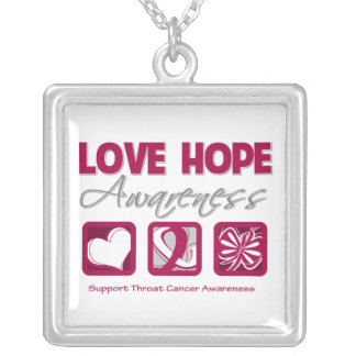 Throat Cancer Love Hope Awareness Square Pendant Necklace
