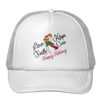 Throat Cancer Love Hope Holidays Trucker Hat