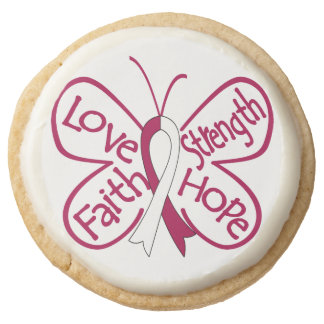 Throat Cancer Love Strength Faith and Hope Round Premium Shortbread Cookie