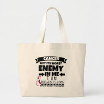 Throat Cancer Met Its Worst Enemy in Me Large Tote Bag