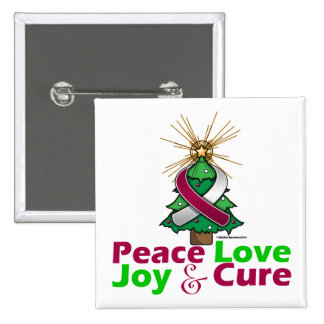 Throat Cancer Peace Love Joy Cure Pinback Button