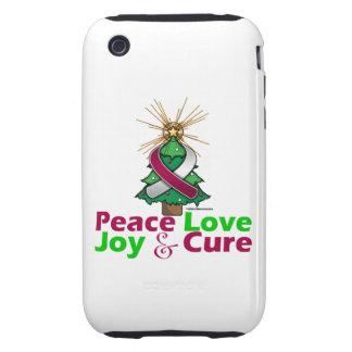 Throat Cancer Peace Love Joy Cure Tough iPhone 3 Case