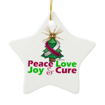 Throat Cancer Peace Love Joy Cure Ceramic Ornament