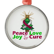 Throat Cancer Peace Love Joy Cure Metal Ornament