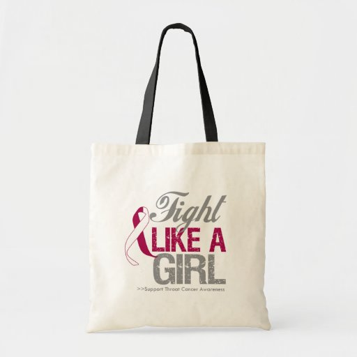 Throat Cancer Ribbon - Fight Like a Girl Canvas Bags