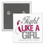 Throat Cancer Ribbon - Fight Like a Girl Button