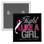 Throat Cancer Ribbon - Fight Like a Girl Pinback Button