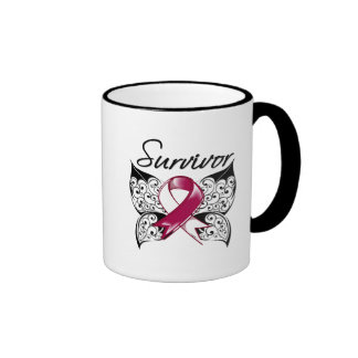 Throat Cancer Survivor Butterfly Ringer Coffee Mug
