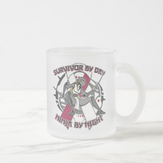 Throat Cancer Survivor By Day Ninja By Night 10 Oz Frosted Glass Coffee Mug