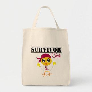 Throat Cancer Survivor Chick Tote Bag