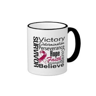 Throat Cancer Survivor Collage Ringer Coffee Mug