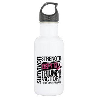 Throat Cancer Survivor Defy It 18oz Water Bottle