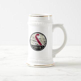 Throat Cancer Survivor Mens Vintage 18 Oz Beer Stein