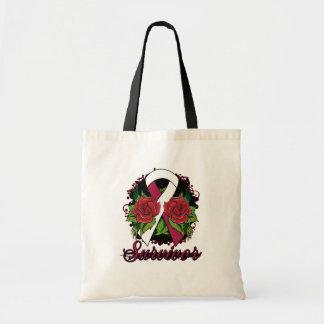 Throat Cancer Survivor Rose Grunge Tattoo Canvas Bags