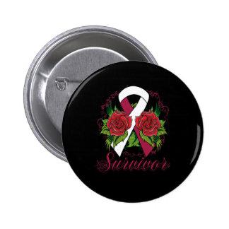 Throat Cancer Survivor Rose Grunge Tattoo Pinback Buttons
