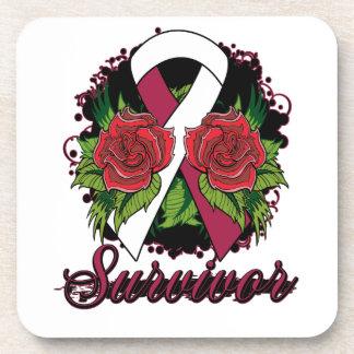 Throat Cancer Survivor Rose Grunge Tattoo Beverage Coasters