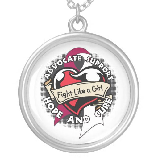 Throat Cancer - Tattoo Heart Fight Like A Girl Necklaces
