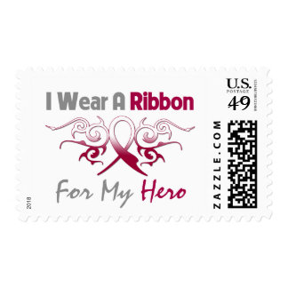 Throat Cancer Tribal Deco Ribbon Hero Stamp