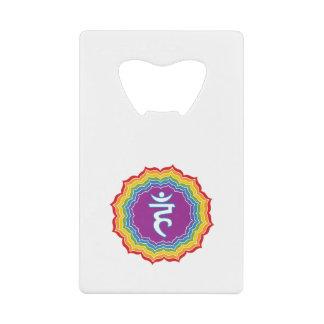 Throat chakra credit card bottle opener