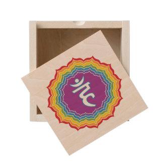 Throat chakra wooden keepsake box