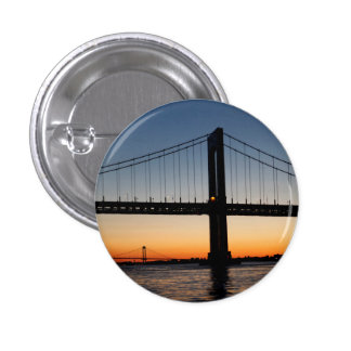 Throggs Neck and Whitestone Bridge Sunset Pinback Button