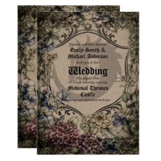 Thrones Dragon Wedding Medieval Gothic Parchment Invitation