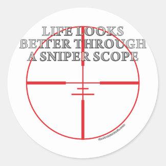 Through a Sniper Scope Classic Round Sticker