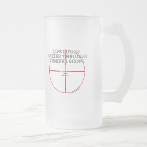 Through a Sniper Scope Frosted Glass Beer Mug