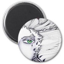 eyes, ink, girl, woman, feelings, portrait, blackandwhite, original, artsprojekt, drawing, green eyes, Ímã com design gráfico personalizado