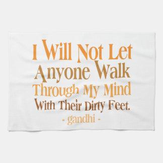Through My Mind Quote Gandhi Kitchen Towel
