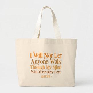 Through My Mind Quote Gandhi Large Tote Bag