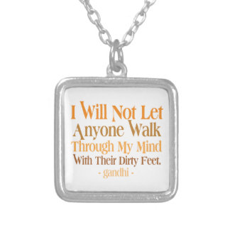 Through My Mind Quote Gandhi Silver Plated Necklace