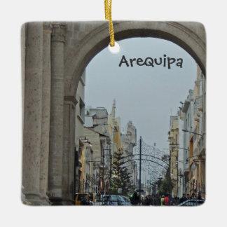Through the Arches - Plaza de Armas-Arequipa, Peru Ceramic Ornament