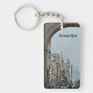 Through the Arches - Plaza de Armas-Arequipa, Peru Keychain