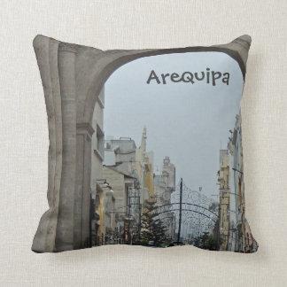 Through the Arches - Plaza de Armas-Arequipa, Peru Throw Pillow
