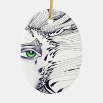 eyes, ink, girl, woman, feelings, portrait, blackandwhite, original, artsprojekt, drawing, green eyes, Ornamento com design gráfico personalizado