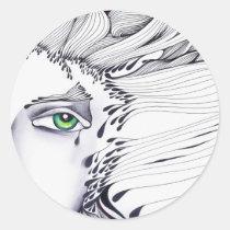 eyes, ink, girl, woman, feelings, portrait, blackandwhite, original, artsprojekt, drawing, green eyes, Sticker with custom graphic design