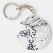 eyes, ink, girl, woman, feelings, portrait, blackandwhite, original, artsprojekt, drawing, green eyes, Keychain with custom graphic design