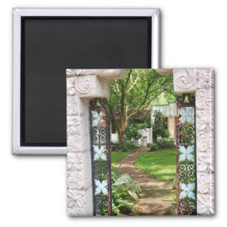 Through the Garden Gate 2 Inch Square Magnet