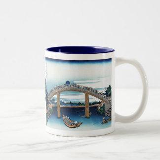 Through the Mannen Bridge at Fukagawa, Hokusai Two-Tone Coffee Mug