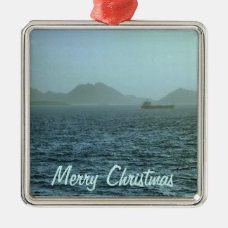 Through the Mist Square Metal Christmas Ornament