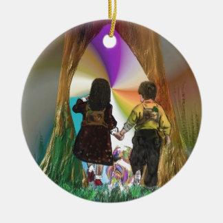 Through the oak tree portal christmas ornament