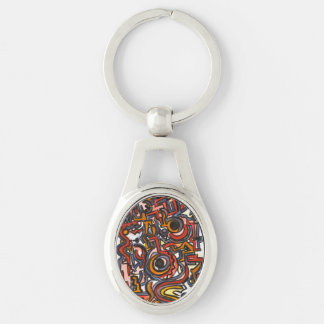 Through The Portal-Abstract Art Hand Painted Silver-Colored Oval Metal Keychain