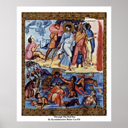 Through The Red Sea By Byzantinischer Maler Um 920 Print