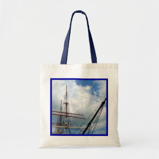 Through the Rigging with Blue Border Tote Bag